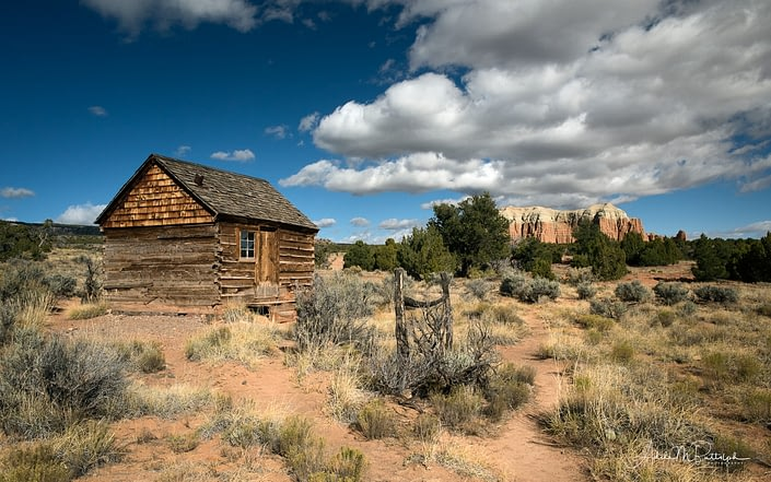 Historical Morrell Line Cabin is located in Upper Cathedral Valley, Capitol Reef National Park, Utah.