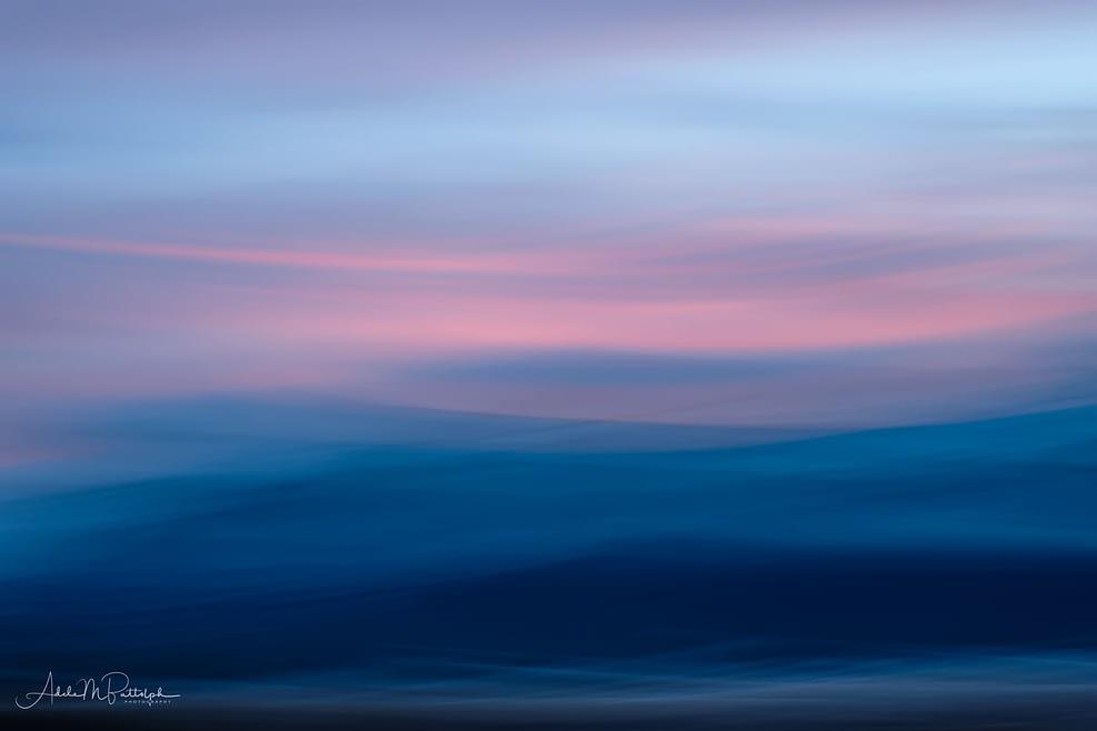 Soft, impressionistic image of the Wallowa Mountains, Oregon.