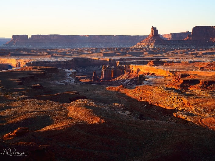 Sunset over the valley below Murphy Camp in Canyonlands National Park, Utah