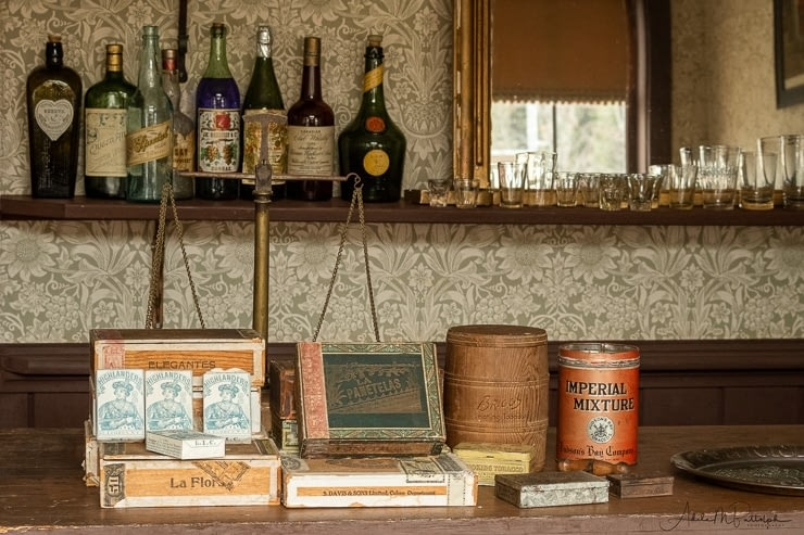 Tobacco and alcohol display in the saloon, Barkerville