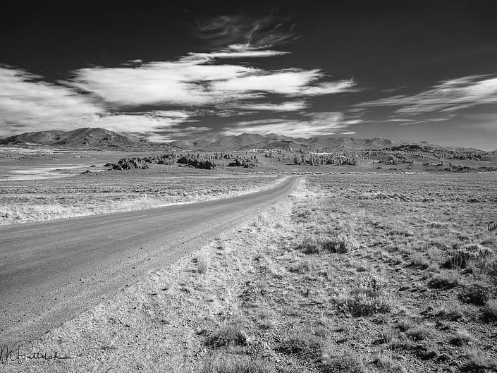 Black and white infrared photograph of the Wind River Range, Wyoming shot from the south.
