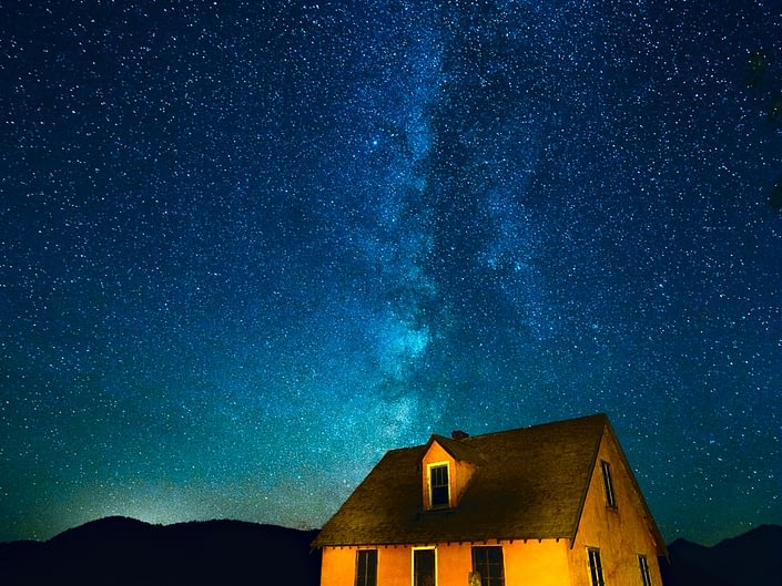 Milky Way rising above an historic farmhouse on Mormon Row, Grand Teton National Park. © Adele M. Buttolph, © Adele Buttolph. adelembuttolphgallery, adelembuttolphphotography