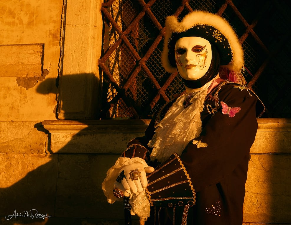 A male costumer dress as possibly royalty or military photographed in early morning light during Venice Carnival.