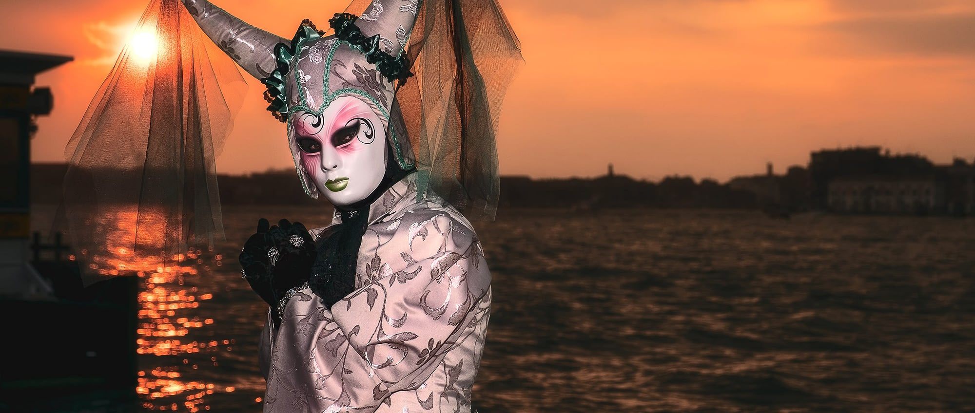 Nick Tempest at San Giorgio, Venice, Italy during sunset. Photographed during Venice Carnival.