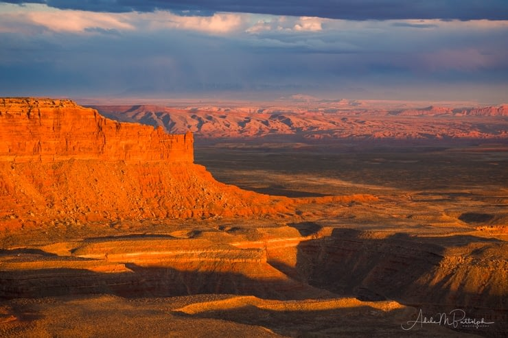 Johns Canyon and Raplee Ridge photographed at sunset from Muley Point, Utah.