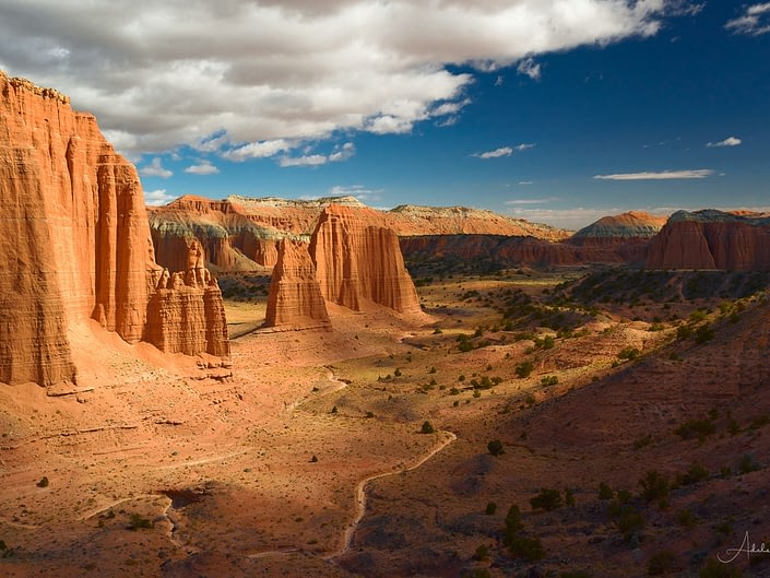 Rock formations and valley of Upper Cathedral Valley, Capitol Reef National Park, Utah